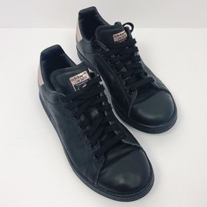 Adidas | Stan Smith Black Leather Rose Gold Shoes